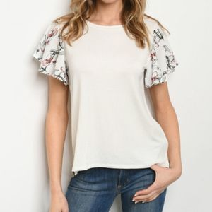 Tops - Ivory Floral Ruffle Short Sleeve Top